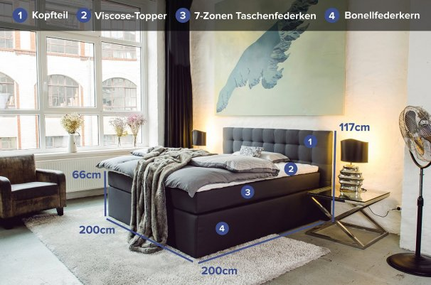 boxspringbett 200x200 das beste luxus bett online kaufen. Black Bedroom Furniture Sets. Home Design Ideas